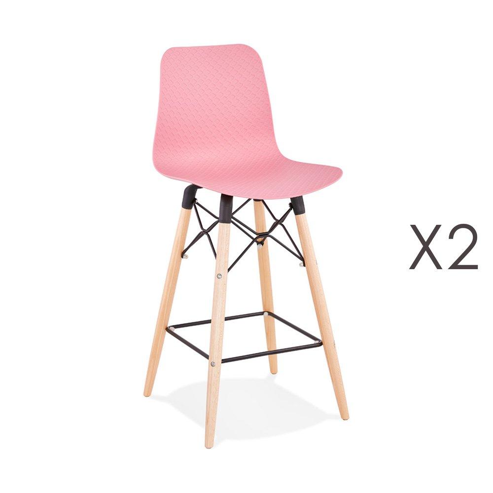 Tabouret de bar - Lot de 2 chaises de bar H69 cm roses et pieds naturels - YAREN photo 1