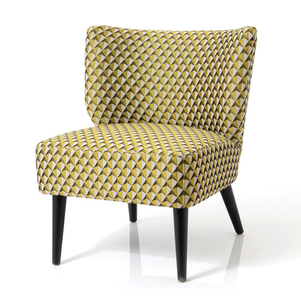 Fauteuil - Fauteuil 66x62x71 cm en tissu à motifs moutarde - ELISA photo 1