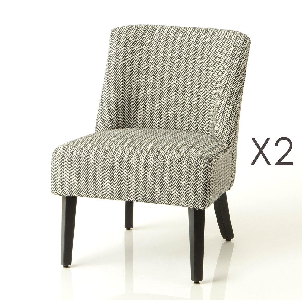 Fauteuil - Lot de 2 fauteuils 51x58x71 cm en tissu motifs noir et blanc - MEVIK photo 1