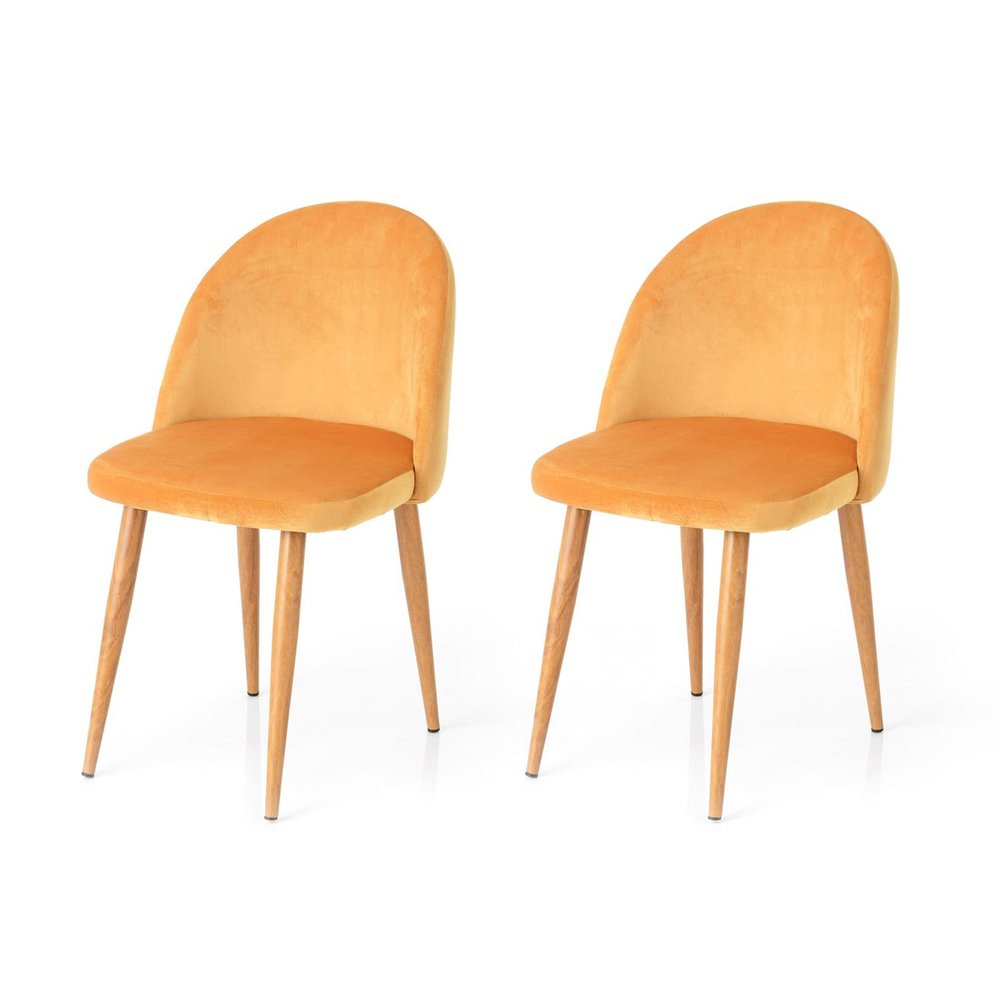 Chaise - Lot de 2 chaises repas en tissu velours jaune photo 1