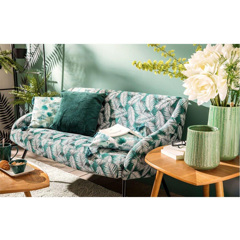 Canapé - Canapé 2 places en tissu vert à motifs feuilles - OSTRAL photo 1