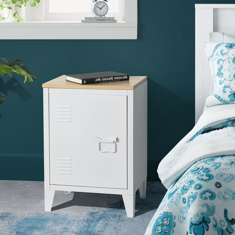 Chevet - Chevet 1 porte 30x40x57 cm en métal blanc et plateau en bois - ARISTO photo 1