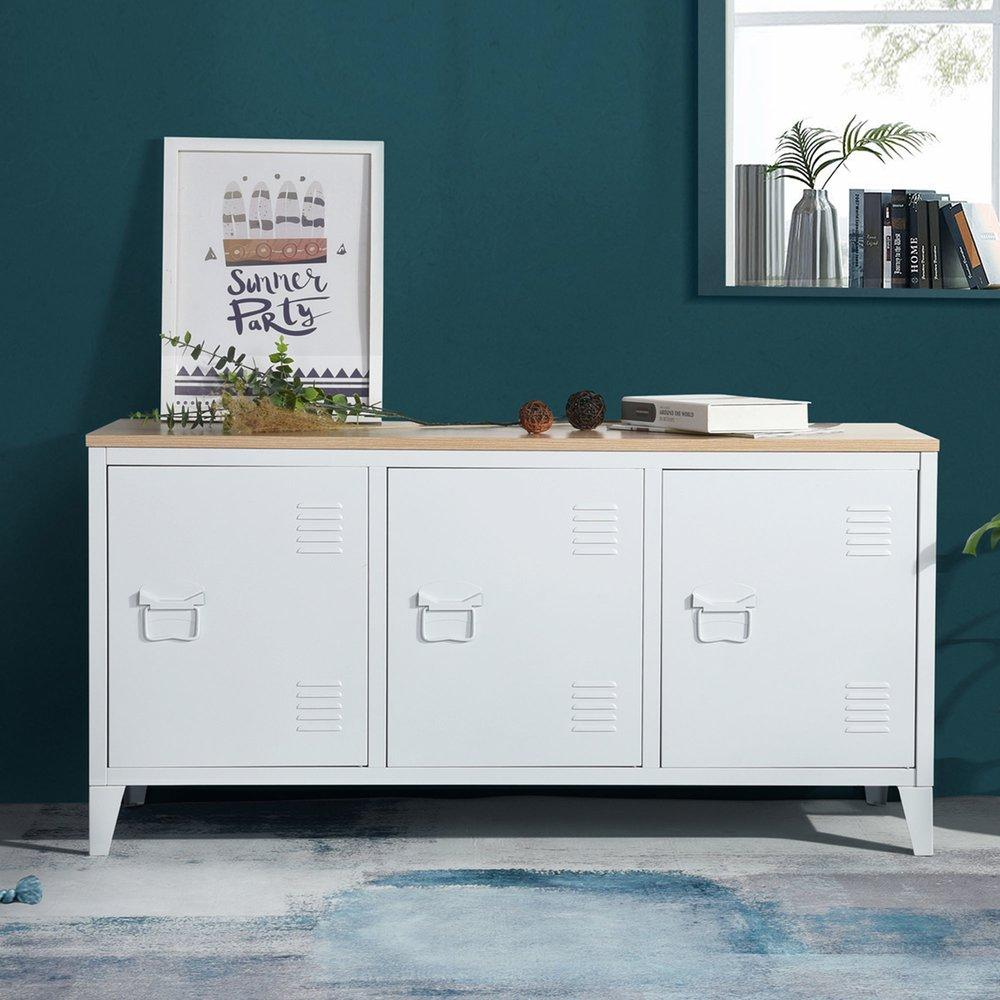 Buffet - vaisselier - Buffet 3 portes 120x40x58 cm en métal blanc et plateau bois - ARISTO photo 1