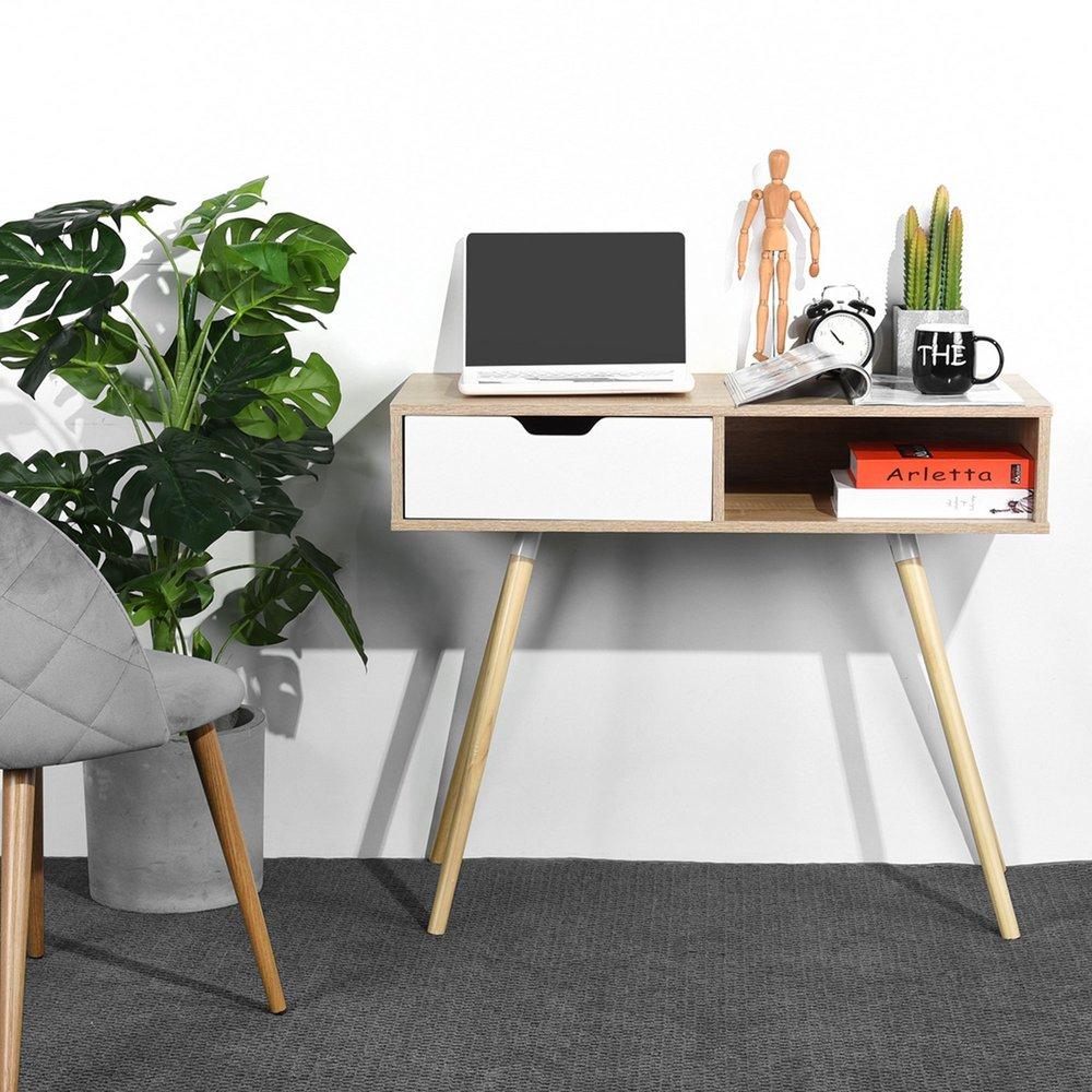 Bureau - Bureau 1 tiroir 90x40x75 cm décor naturel et blanc - DOMIGO photo 1