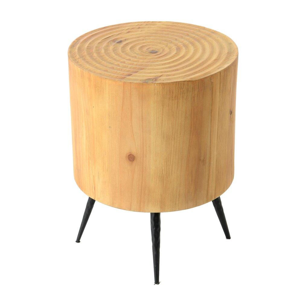 Tabouret - Tabouret rond 34x45 cm en bois et métal - LOGGY photo 1