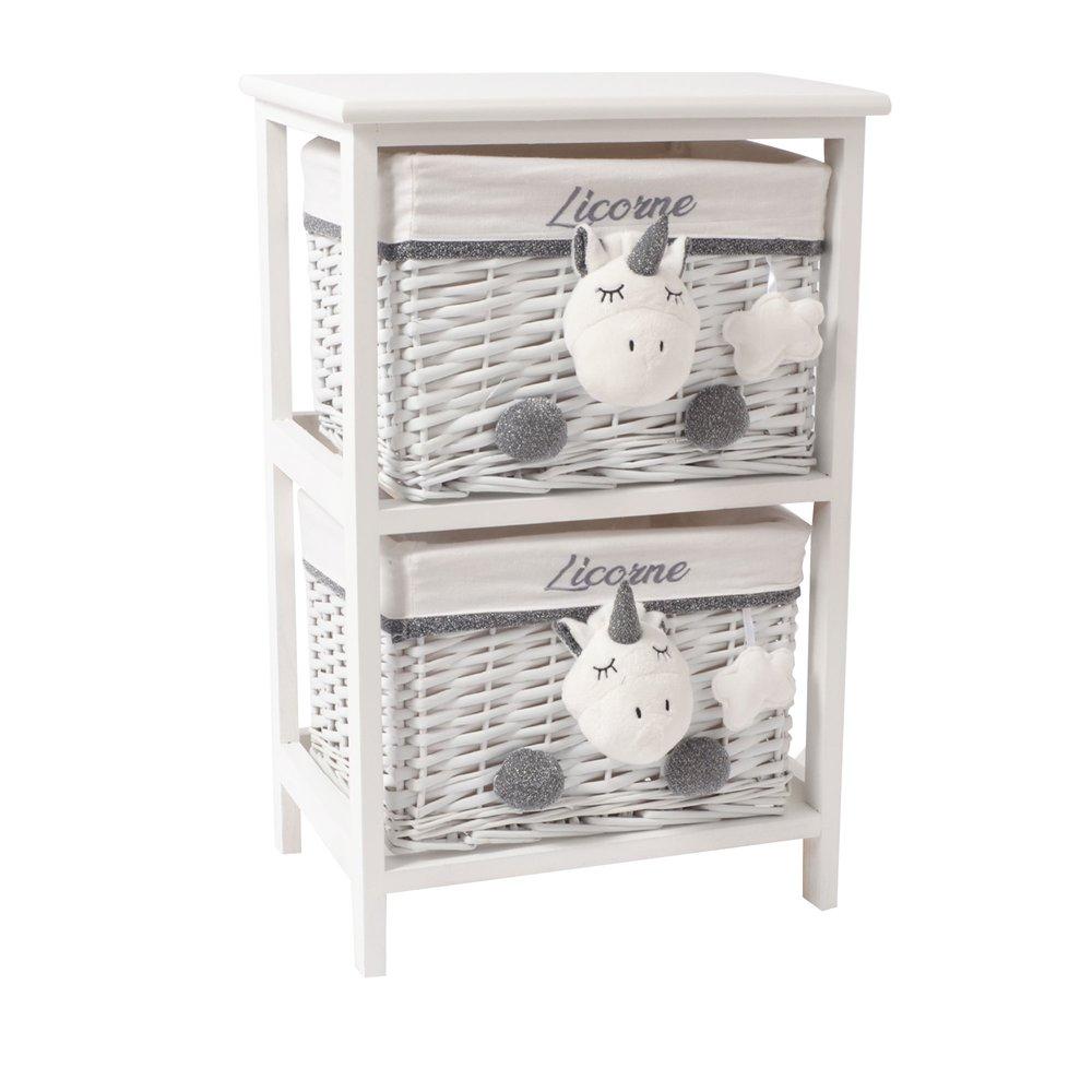 Chambre enfant - Meuble de rangement 2 tiroirs pour enfant en osier photo 1