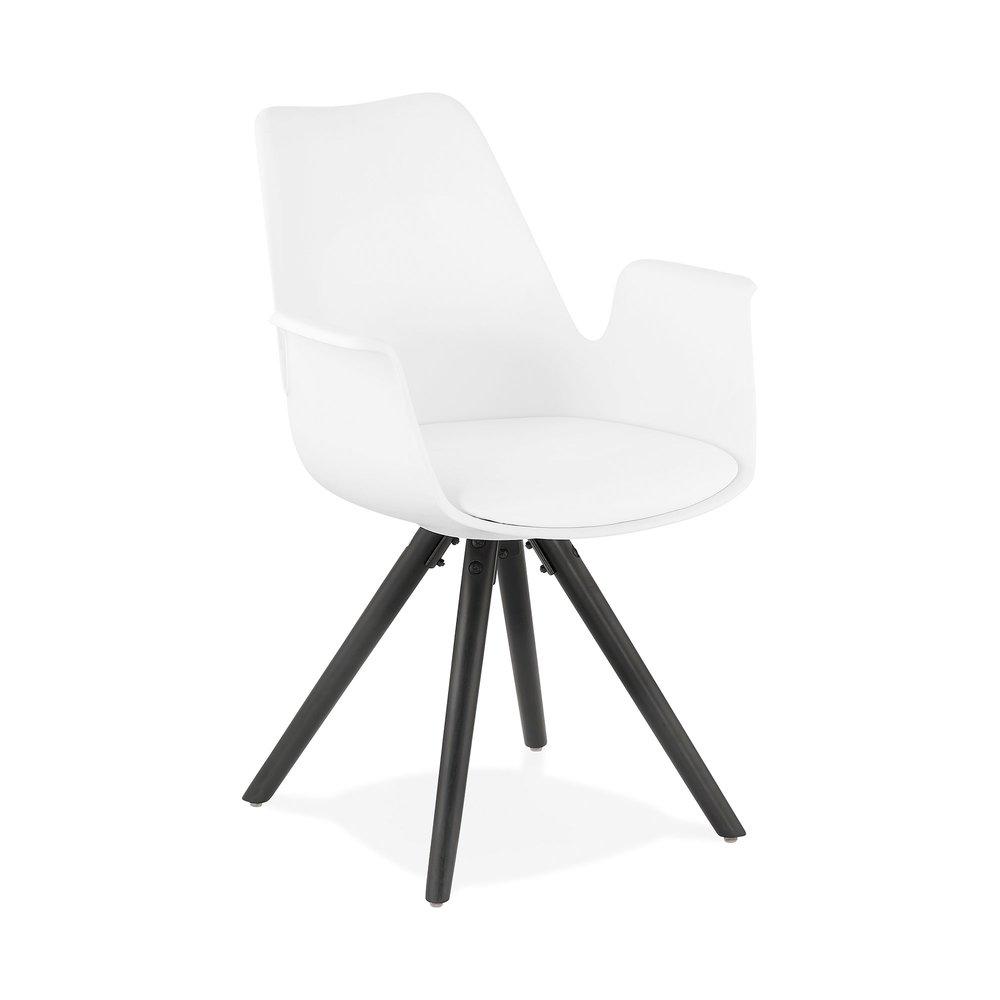 Chaise - Fauteuil design blanc et piètement en bois noir - SHAFT photo 1
