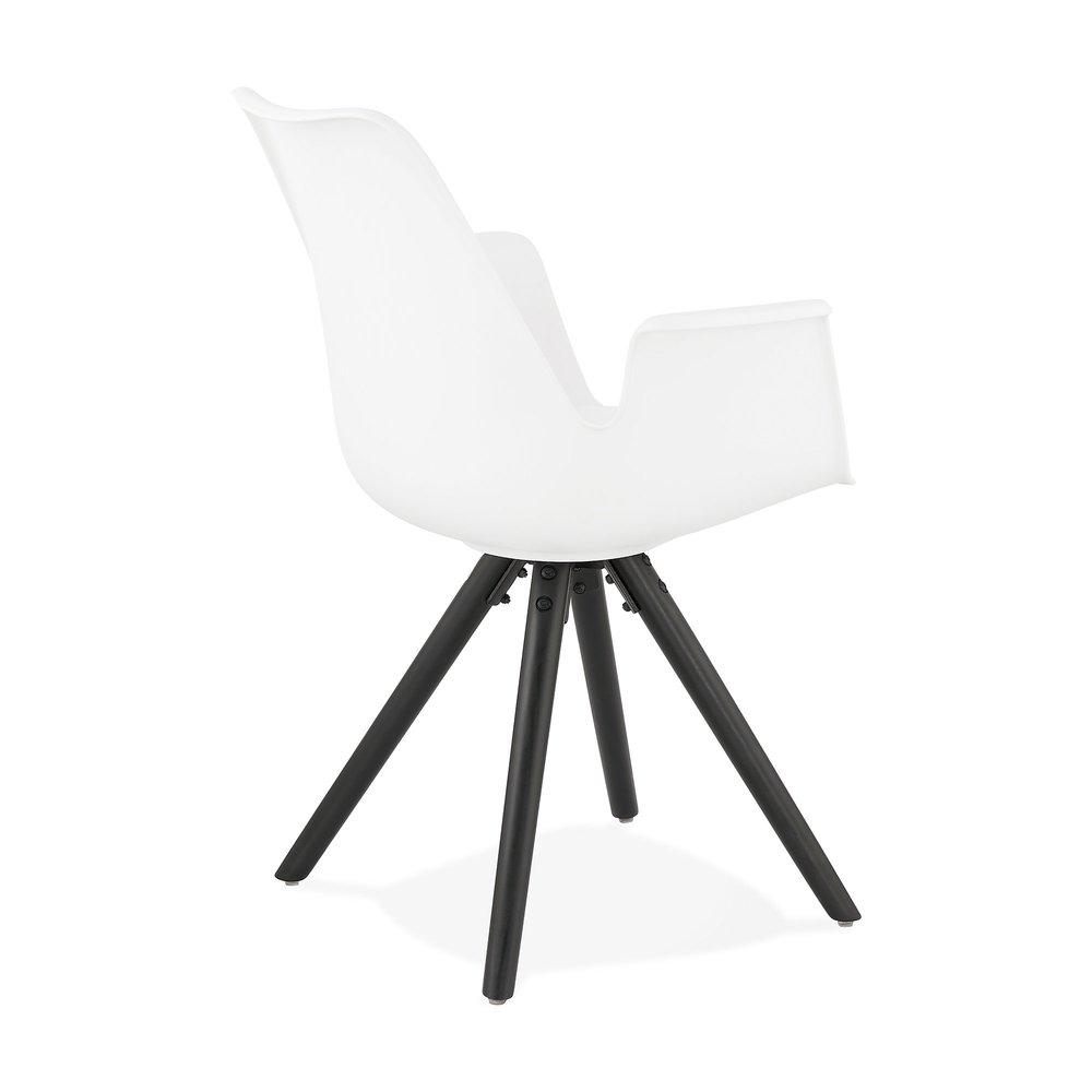 Fauteuil design blanc et piètement en bois noir SHAFT