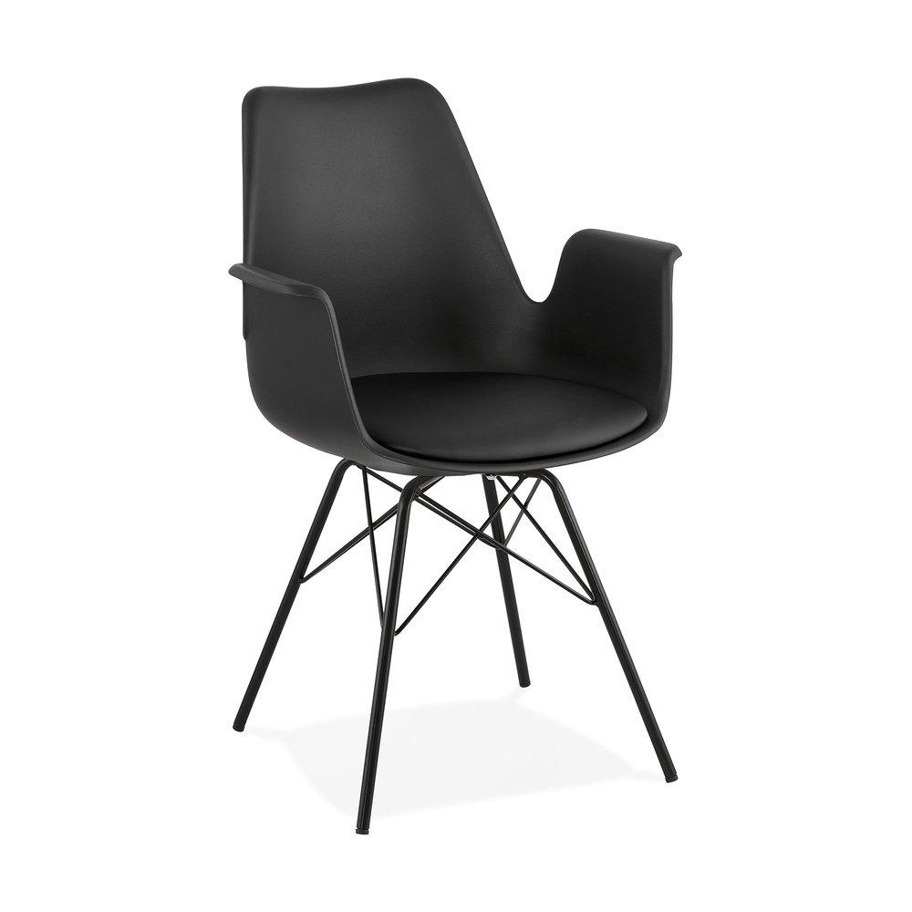 Fauteuil design noir et piètement en métal noir SHAFT