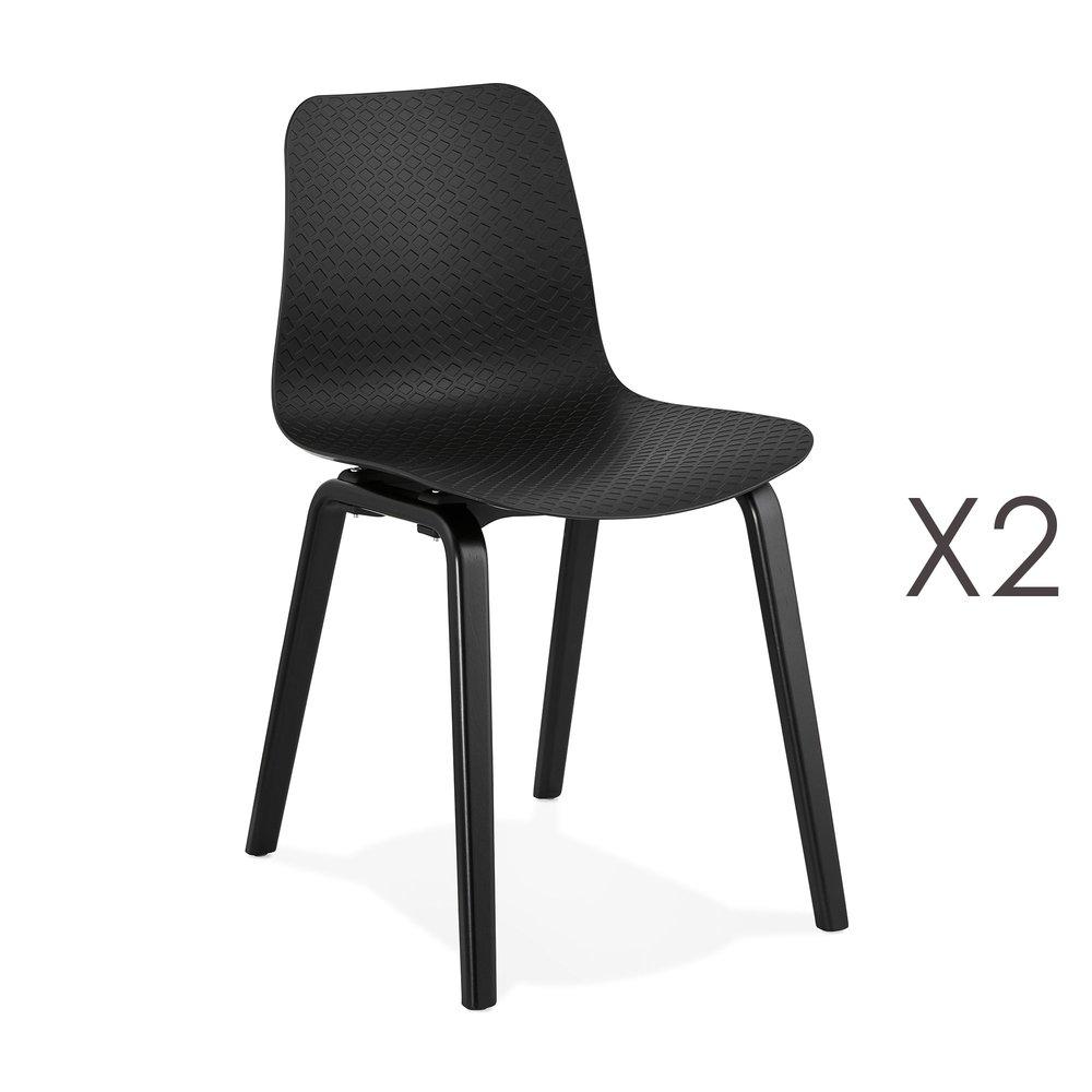 Chaise - Lot de 2 chaises 44,5x52,5x81 cm noires et pieds noirs - NELSON photo 1