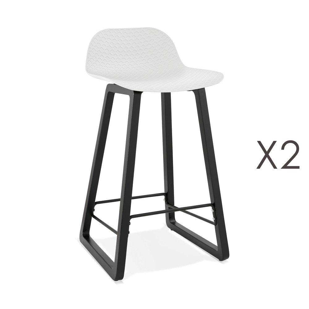 Tabouret de bar - Lot de 2 tabourets de bar H67 cm blanc et pieds noirs - RIZZO photo 1