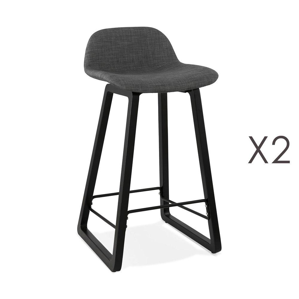Tabouret de bar - Lot de 2 tabourets de bar tissu gris foncé et pieds noirs - RIZZO photo 1