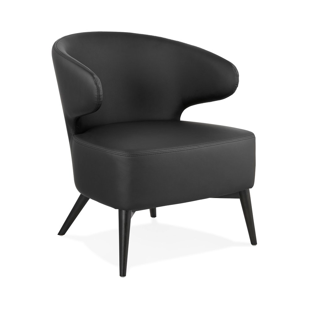Fauteuil - Fauteuil design en PU noir et pieds noirs - JODDY photo 1