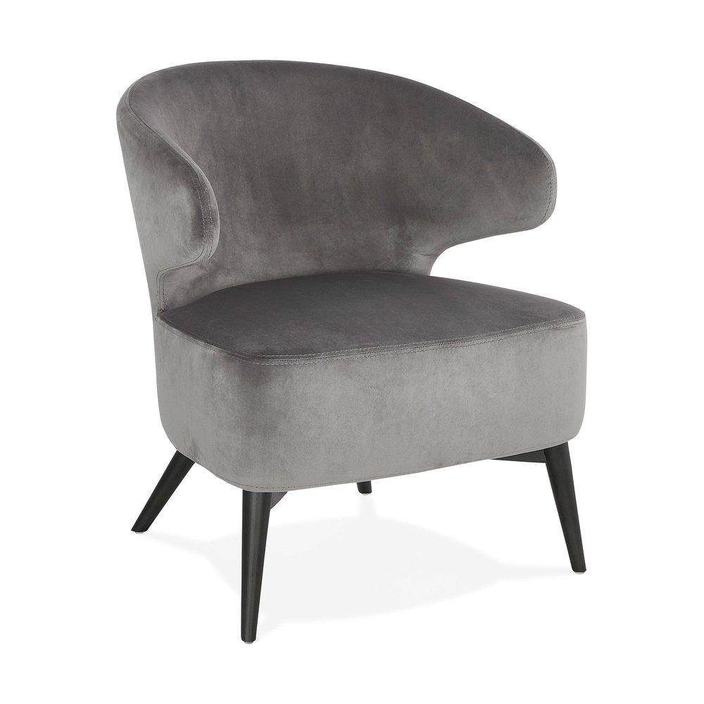 Fauteuil - Fauteuil design en velours gris et pieds noirs - JODDY photo 1