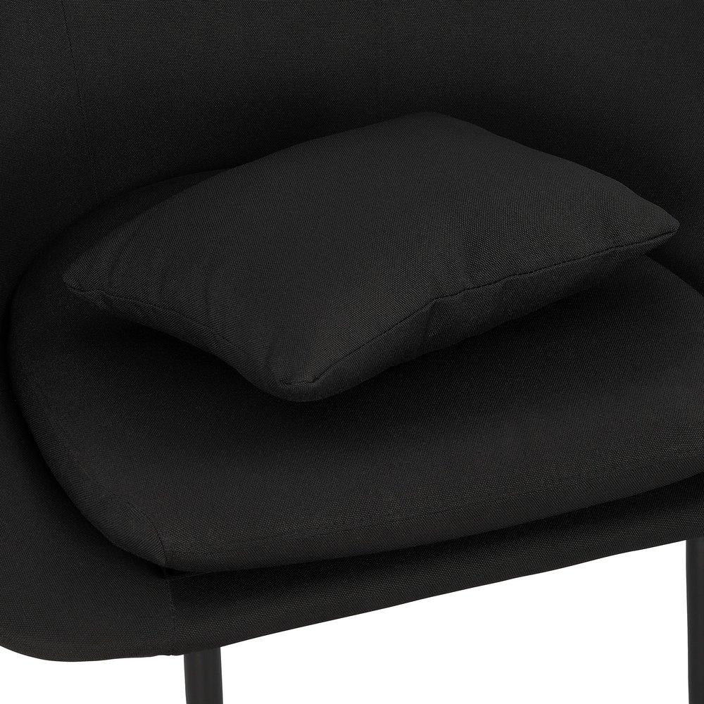 Fauteuil 83x71x88 cm en tissu noir et pieds métal