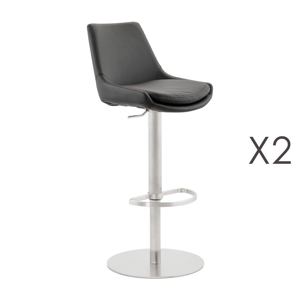 Tabouret de bar - Lot de 2 chaises de bar 52x45x111 cm en PU noir et métal photo 1