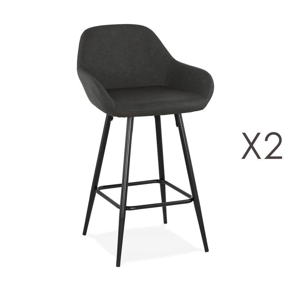 Tabouret de bar - Lot de 2 chaises de bar 60x48x90 cm H64 cm en PU et métal noir photo 1