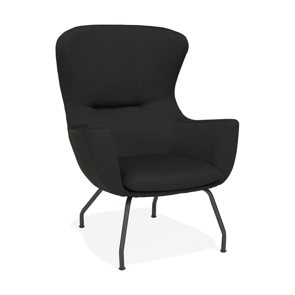 Fauteuil - Fauteuil design 89x81,5x99 cm en tissu noir photo 1