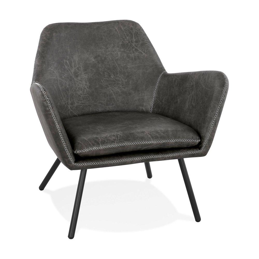 Fauteuil - Fauteuil 76x81x78 cm en PU gris foncé et pieds en métal noir photo 1