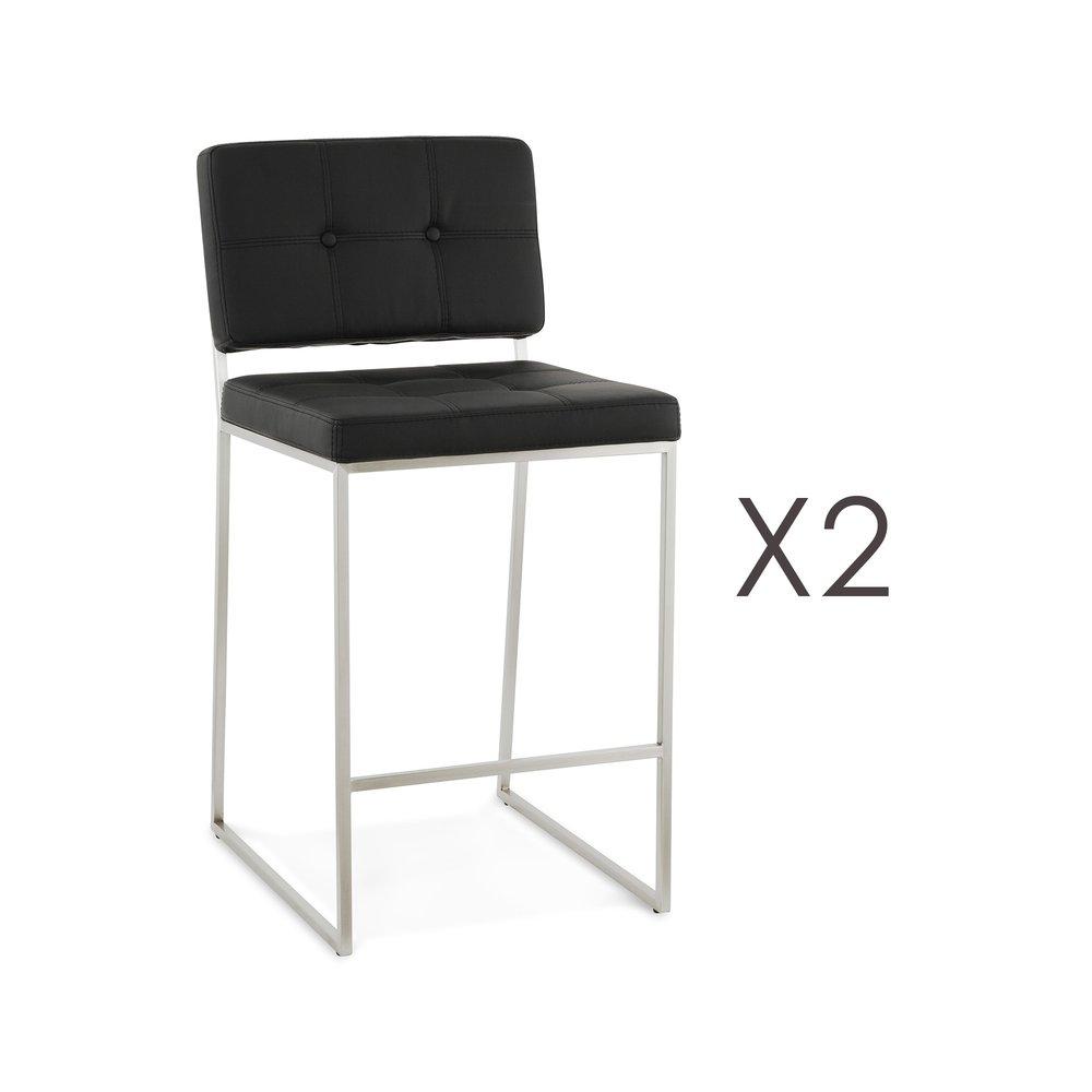 Tabouret de bar - Lot de 2 chaises de bar 54x45x94 cm H65 en PU noir et métal photo 1