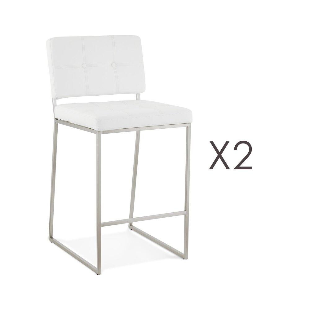 Tabouret de bar - Lot de 2 chaises de bar 54x45x94 cm H65 en PU blanc et métal photo 1
