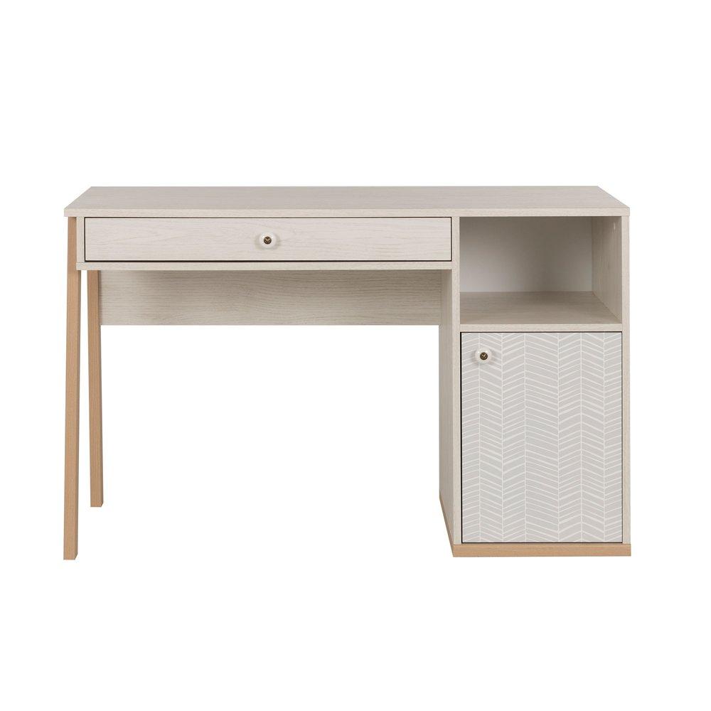 Bureau - Bureau 1 porte et 1 tiroir décor chêne clair et gris - LIANA photo 1