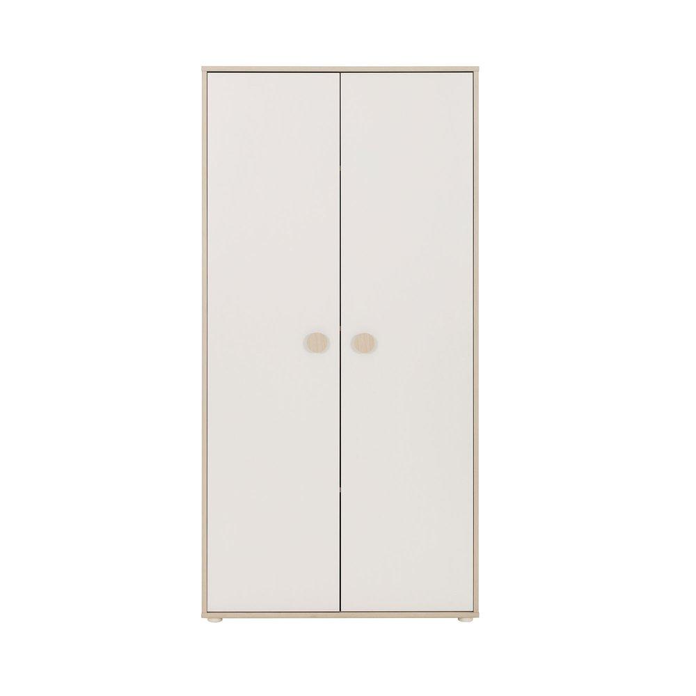 Armoire - Armoire 2 portes décor chêne clair et blanc - LOUMI photo 1