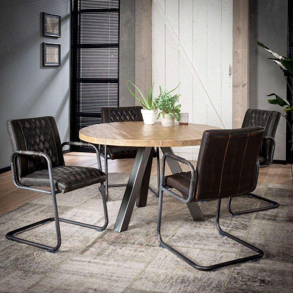 Table - Table ronde 120 cm en manguier massif naturel et acier - TRAPPY photo 1