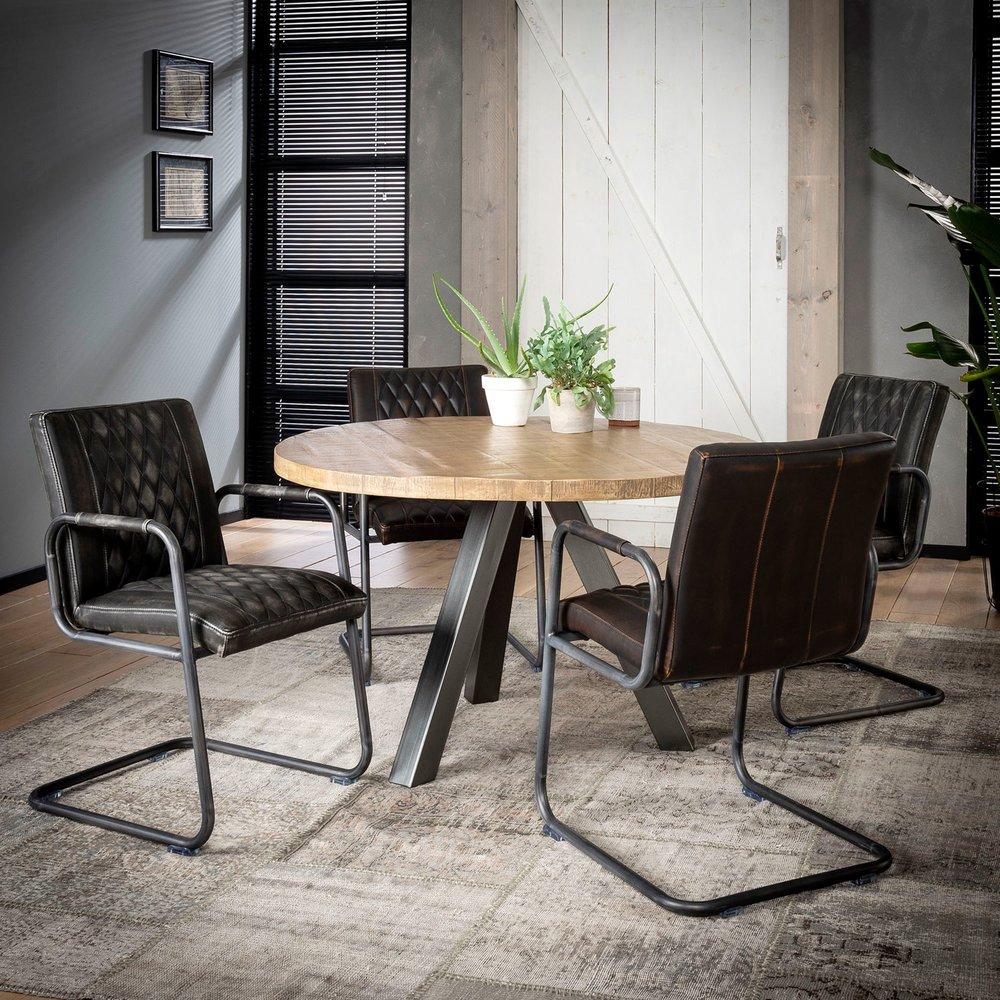 Table - Table ronde 140 cm en manguier massif naturel et acier - TRAPPY photo 1