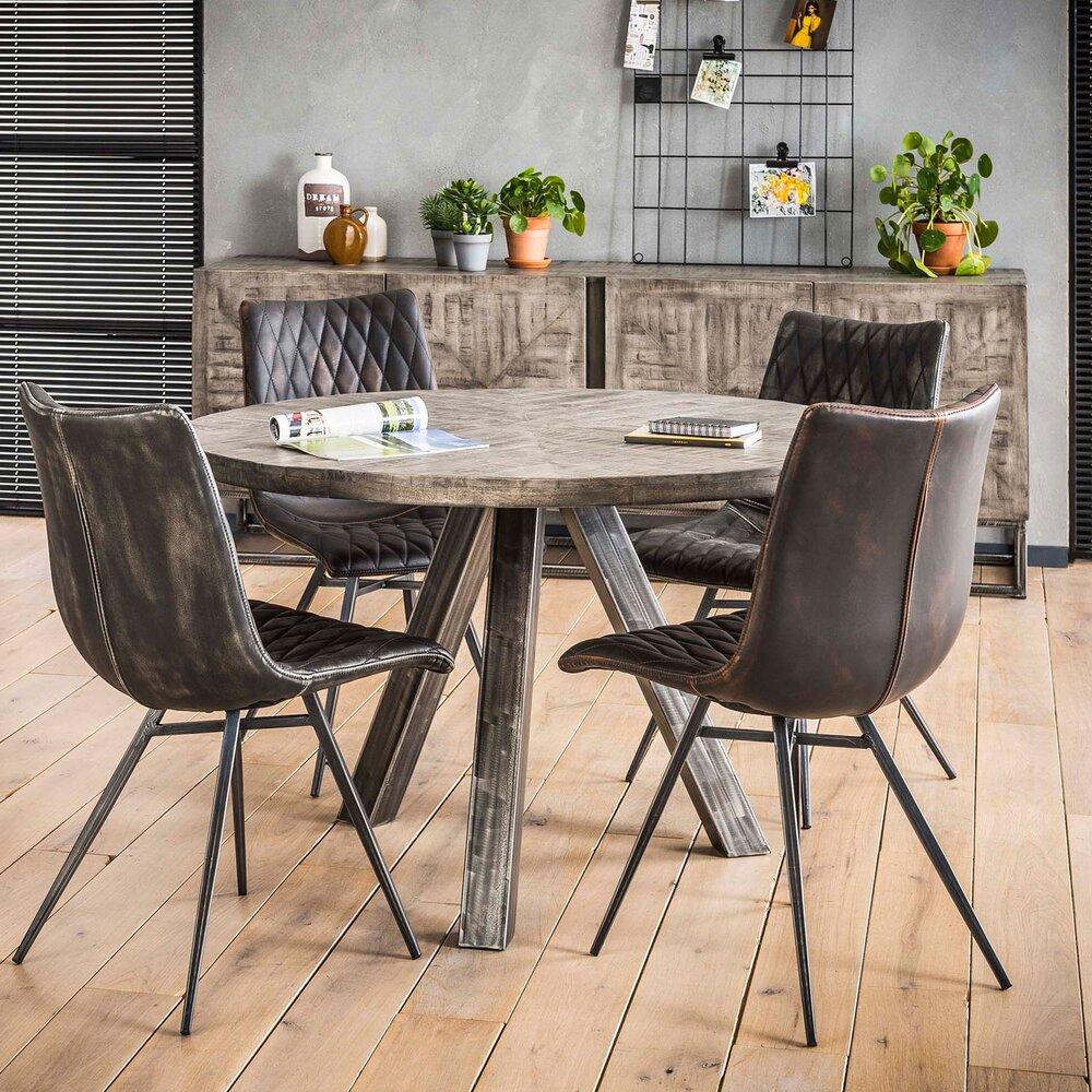 Table - Table à manger ronde 120 cm en manguier massif gris - SCARY photo 1