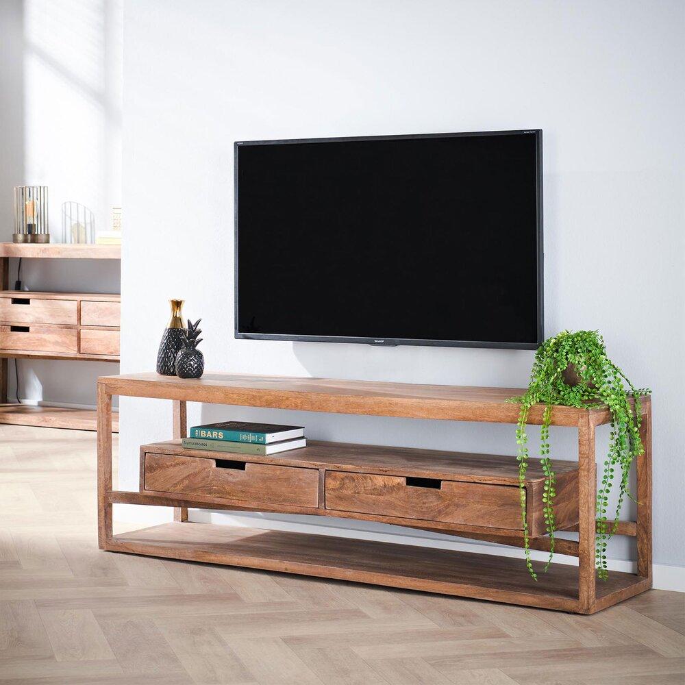 Meuble TV - Hifi - Meuble TV 2 tiroirs 140x35x45 cm en manguier massif - JERRY photo 1