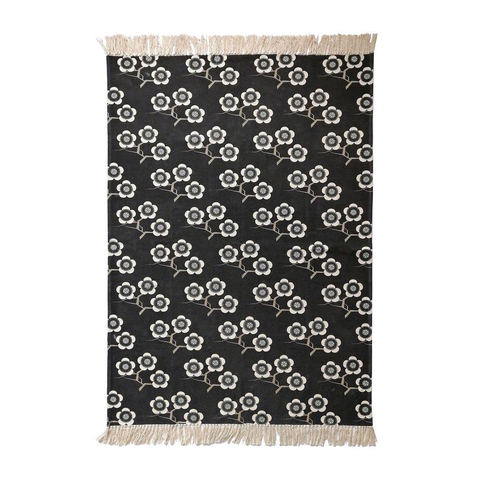 Tapis - Tapis canvas 120x180 cm noir à motifs fleurs - FLOWERS photo 1