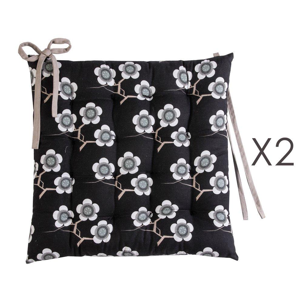 Linge de table - Lot de 2 galettes de chaise 40x40 cm noires à motifs fleurs - FLOWERS photo 1