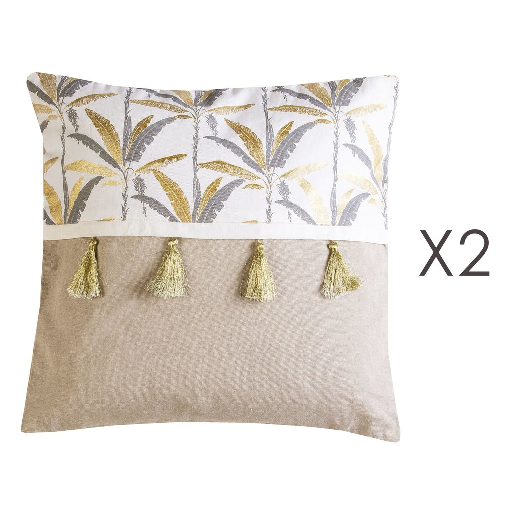 Coussin - Lot de 2 coussins avec pompons 50x50 cm en coton gris et doré - ELOI photo 1