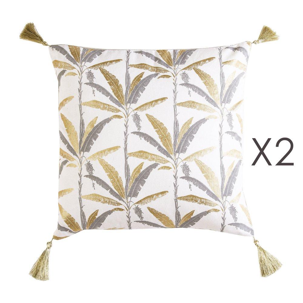 Coussin - Lot de 2 coussins avec pompons 40x40 cm en coton gris et doré - ELOI photo 1