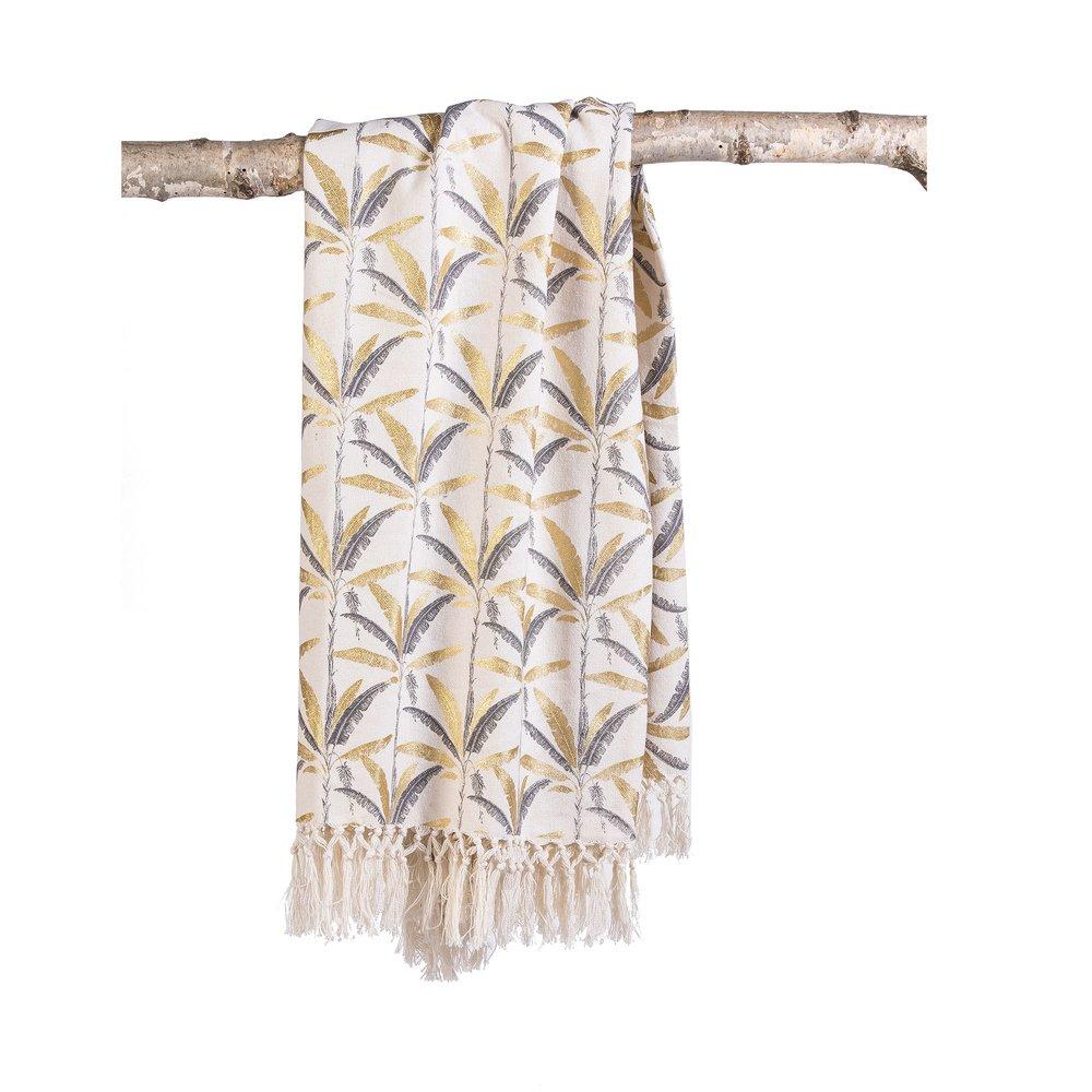 Couvre-lits et accessoires - Plaid imprimé 130x150 cm en coton gris et doré - ELOI photo 1