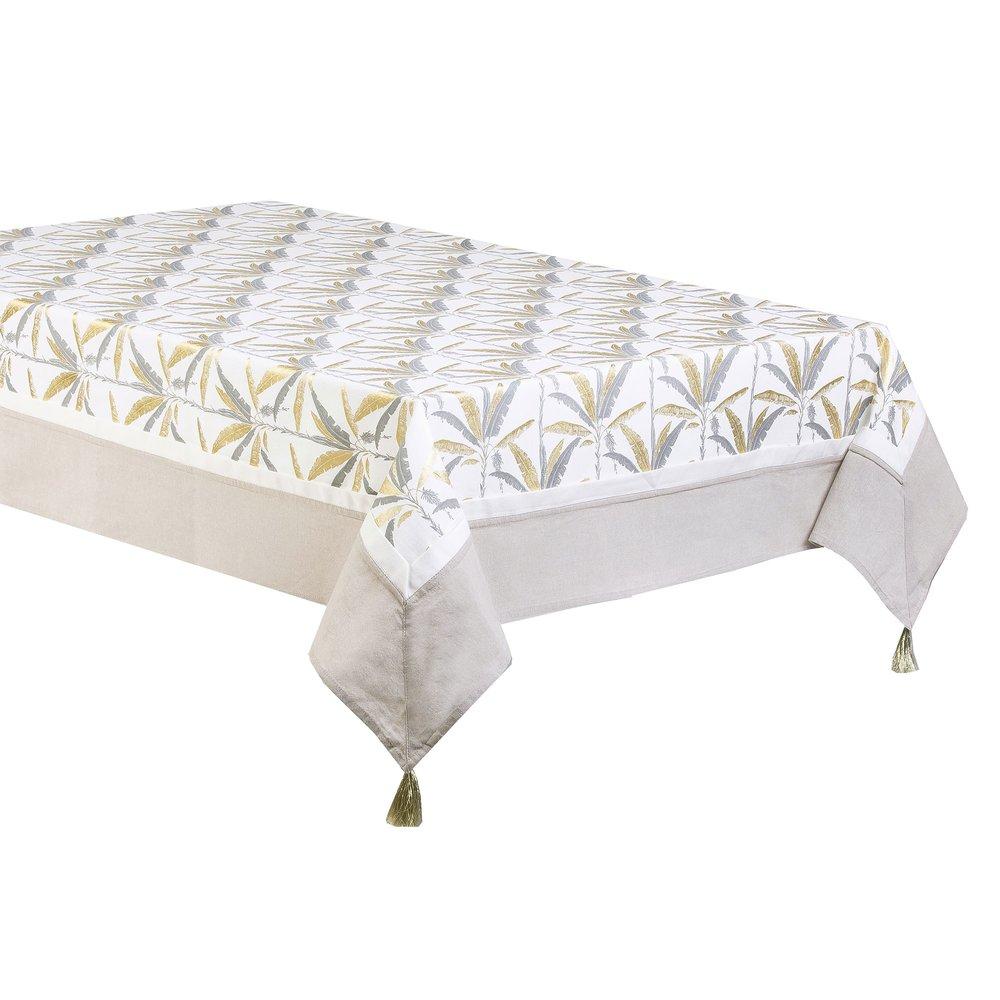 Linge de table - Nappe rectangulaire imprimée 140x250 cm en coton gris et doré - ELOI photo 1
