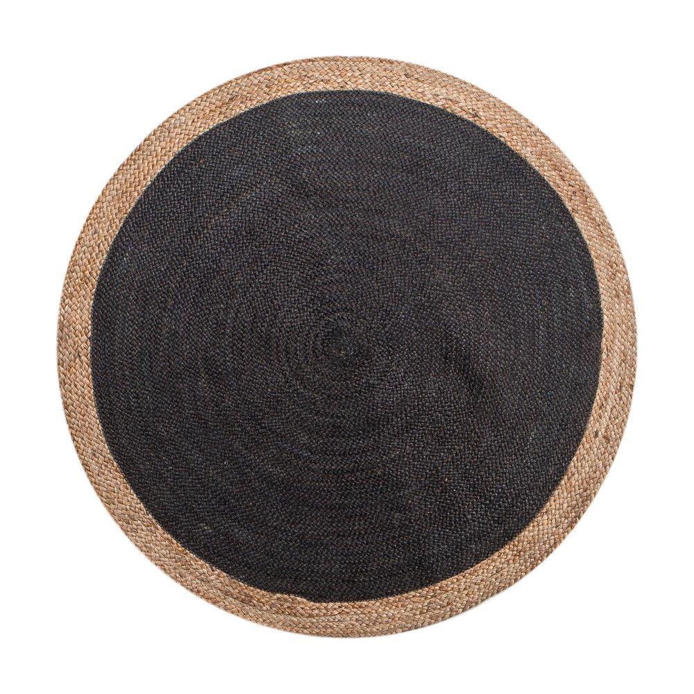 Tapis - Tapis rond 120 cm en jute naturel et noir photo 1
