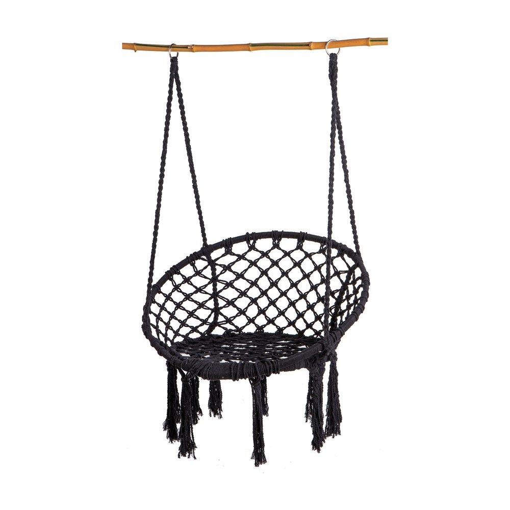 Fauteuil - Chaise suspendue macramé 80x60x110 cm noire photo 1