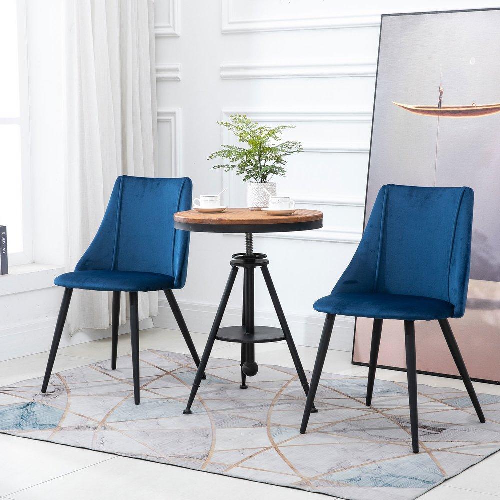Chaise - Lot de 2 chaises design en tissu velours bleu - ROOKIE photo 1