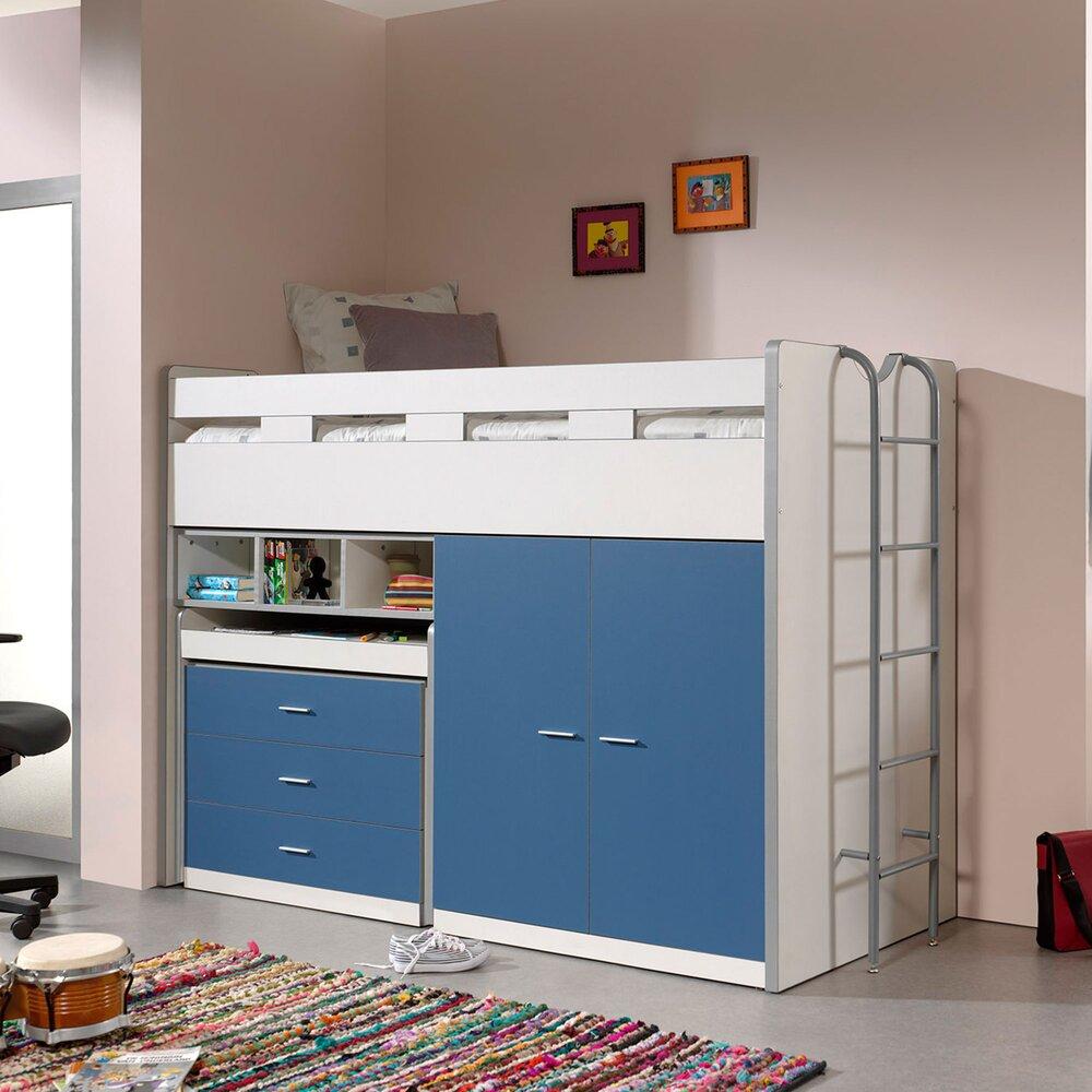 Lit enfant - Lit combiné 90x200 cm avec rangements et bureau bleu - ASSIA photo 1