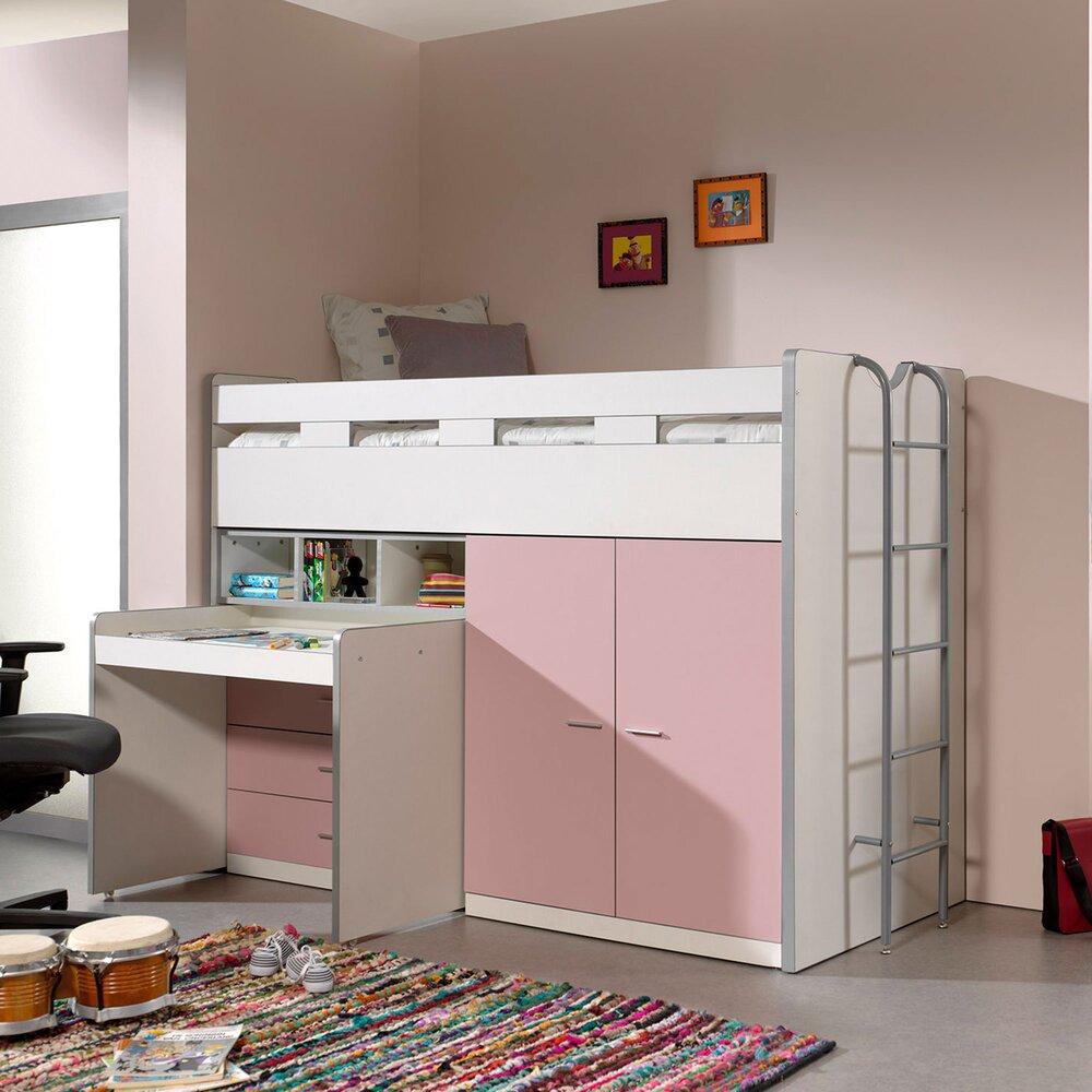Lit enfant - Lit combiné 90x200 cm avec rangements et bureau rose clair - ASSIA photo 1