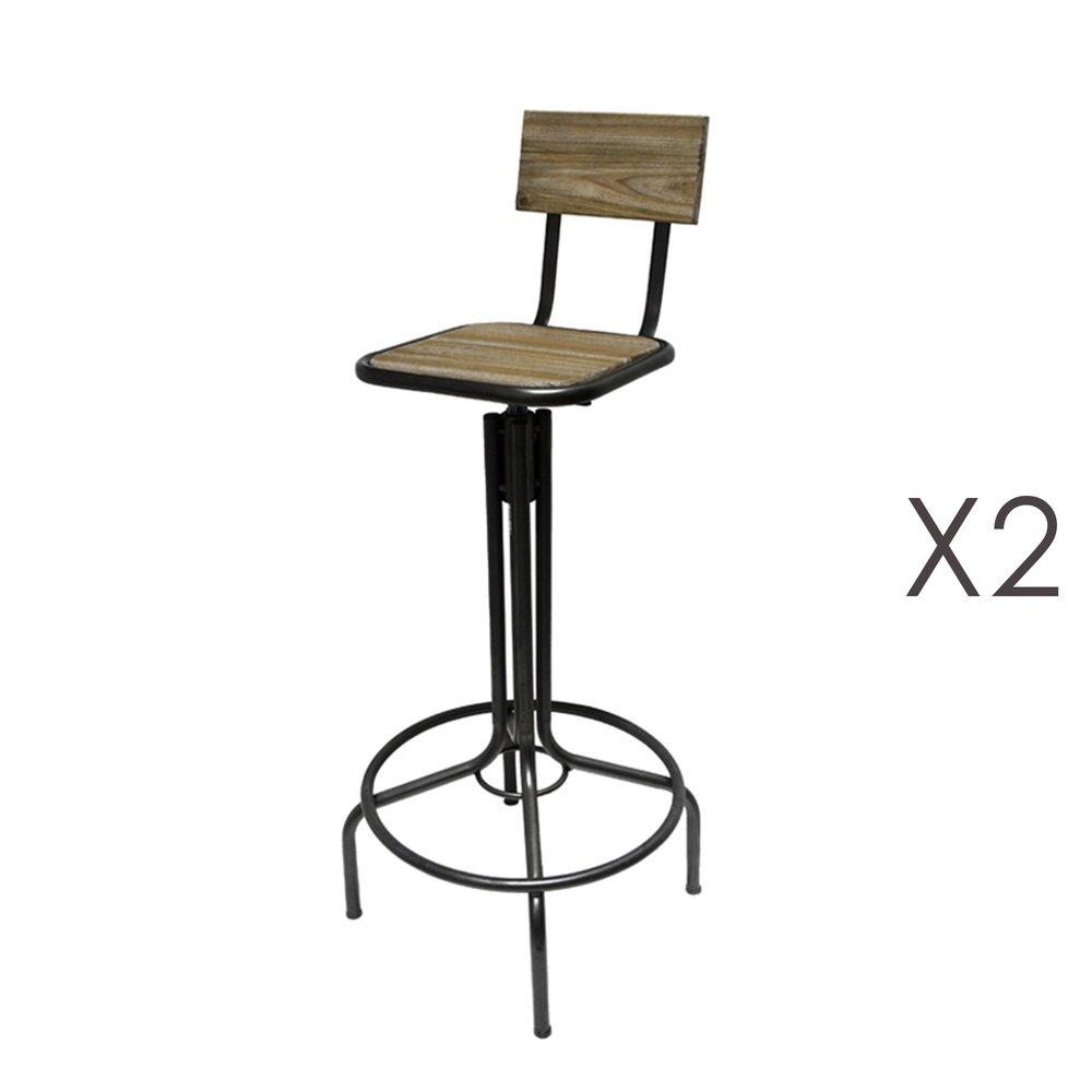 Tabouret de bar - Lot de 2 chaises de bar 41,5x41,5x94 cm en métal photo 1