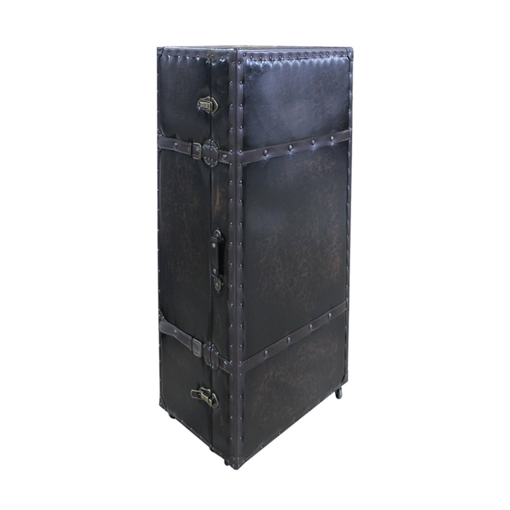 Bar - Meuble range-bouteille en forme de malle 60x40x125 cm en bois et PU noir photo 1