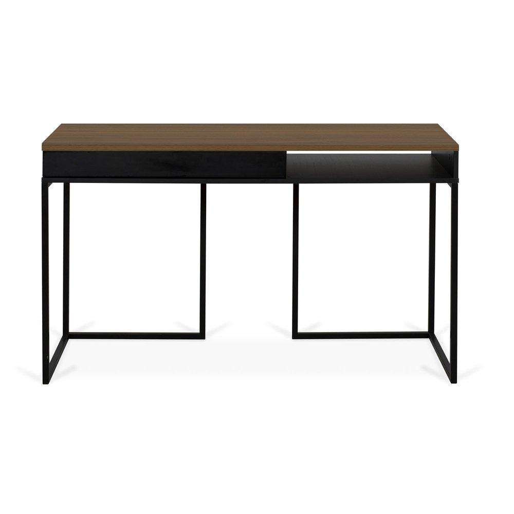 Bureau - Bureau 1 tiroir 130x50x78 cm décor chêne clair vernis et noir photo 1