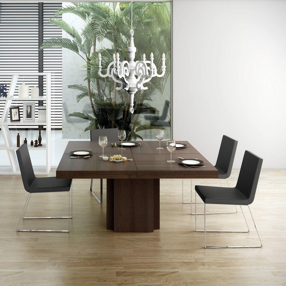 Table A Manger Carree table à manger carrée 150 cm décor chêne brun - dinny