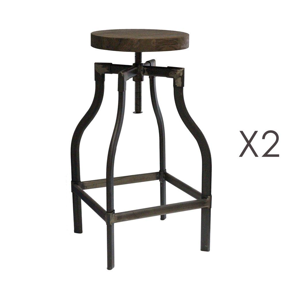 Tabouret de bar - Lot de 2 tabourets de bar industriels 35x35x70 cm en bois et métal photo 1