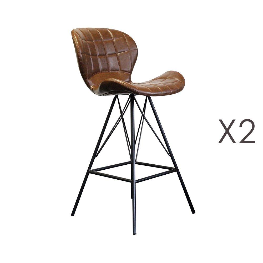 Tabouret de bar - Lot de 2 chaises de bar 53,5x49x106 cm en PU marron et métal photo 1
