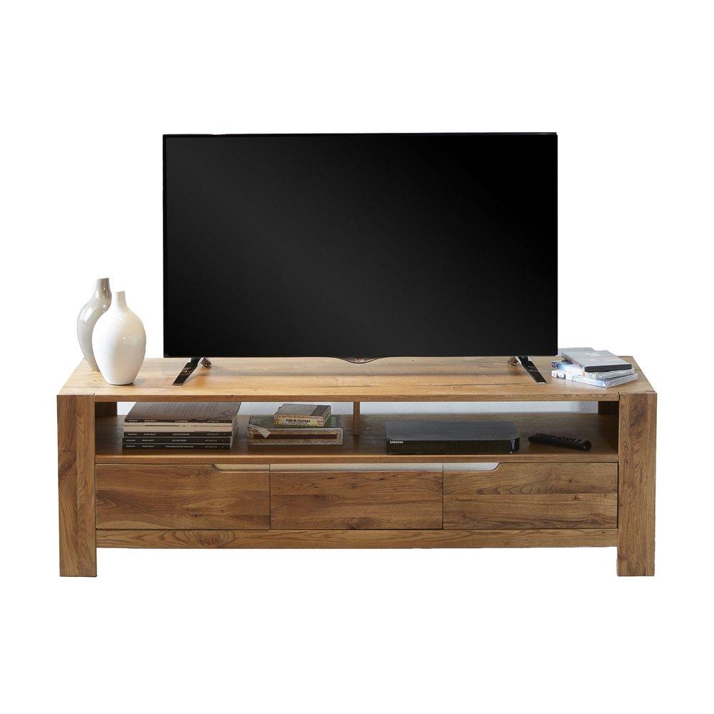 Meuble TV - Hifi - Meuble TV 2 portes et 1 tiroir 160 cm en chêne - SELVY photo 1