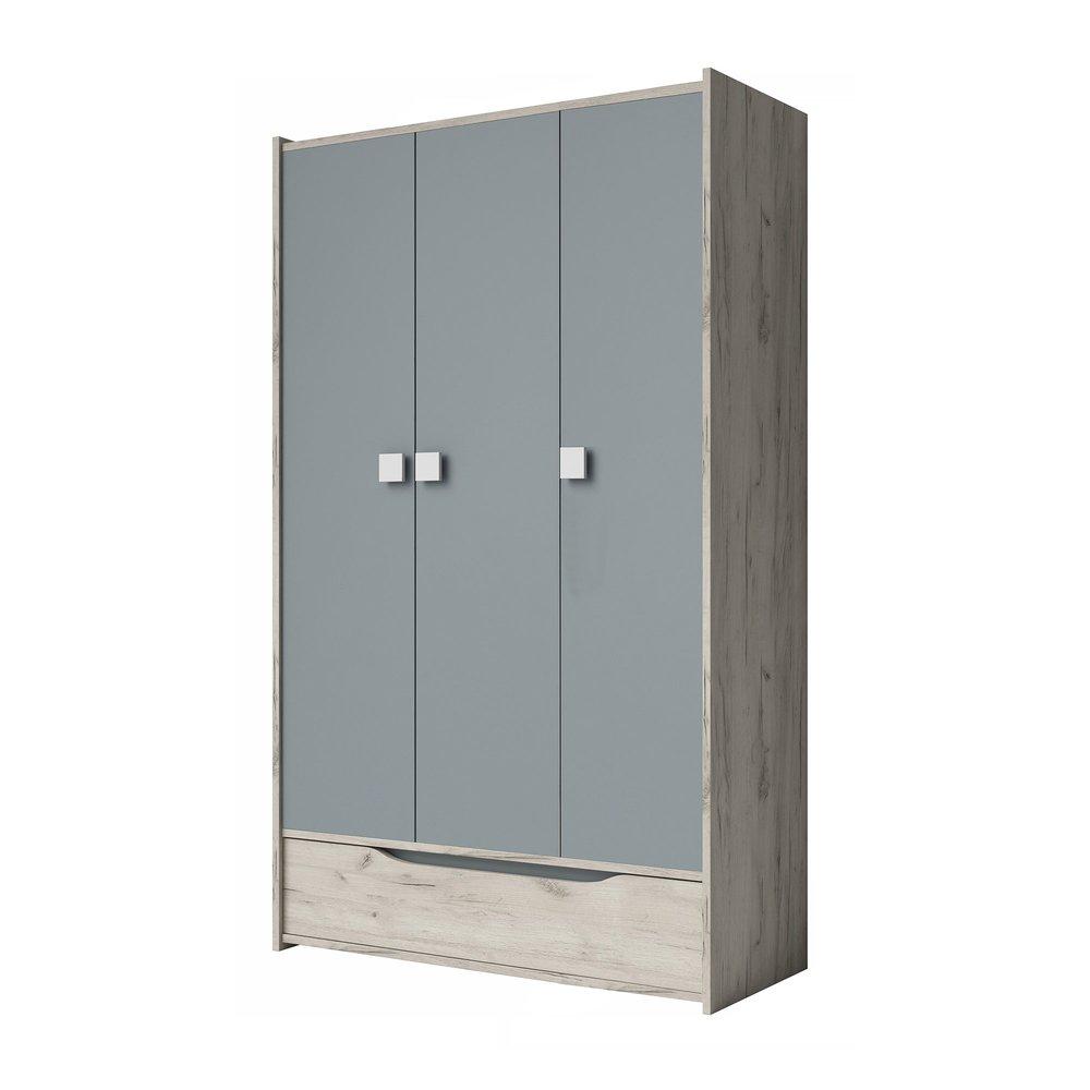 Armoire - Armoire 3 portes et 1 tiroir 120 cm décor chêne clair et gris - INAYA photo 1